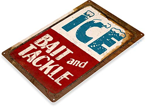 Tinworld Tin Sign Ice Bait Tackle Fish Fishing Marina Beach Lake House Cottage Cabin Metal Sign Decor C010 ()