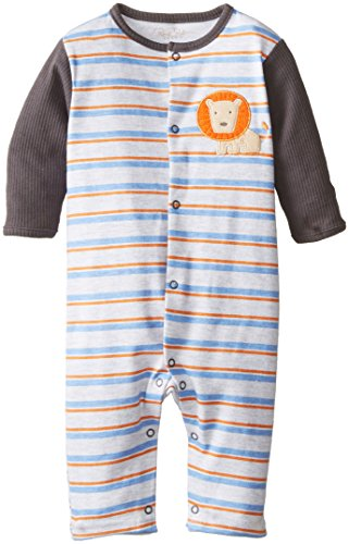 Rene Rofe Baby Newborn Boys Snap Front Lion and Stripes Coverall, Multi, 3-6 Months