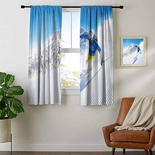 - Winter, Curtains Door Window, Skier Skiing Downhill in High Mountains Extreme Winter Sports Hobbies Activity, Kids Room Artwork 2 Panels Set, W72 x L63 Inch