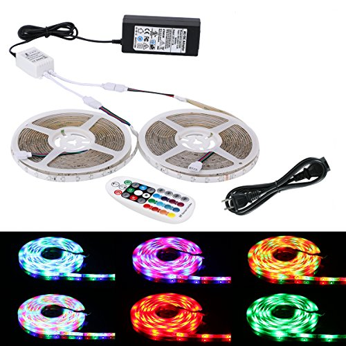 LED Strip Light, Lahoku 3528 SMD RGB 2 Rolls 16.4ft Waterproof Color Changing Tape Light Kit with RF Wireless Remote and UL Listed Power Adapter for Kitchen Cabinet, Bedroom, TV, Home Decoration -  ALight House, US-3528 2roll-10M FS-FBA