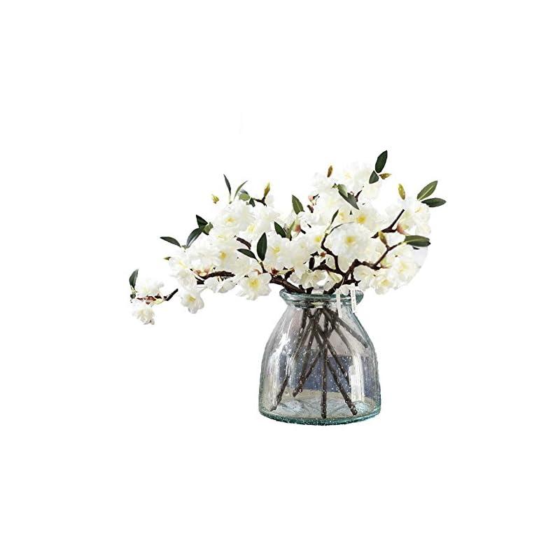 silk flower arrangements jarown artificial cherry blossom branches flowers white 5pcs 17.3 inches
