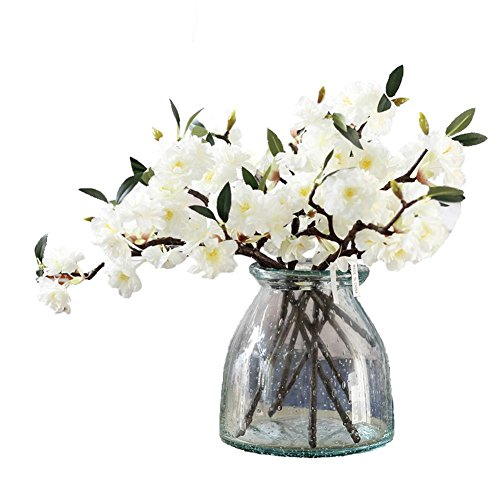 JAROWN 5 Pcs Silk Cherry Blossom Artificial Flowers Branch Silk Sakura Flower Plants for Home Crafts Decoration -