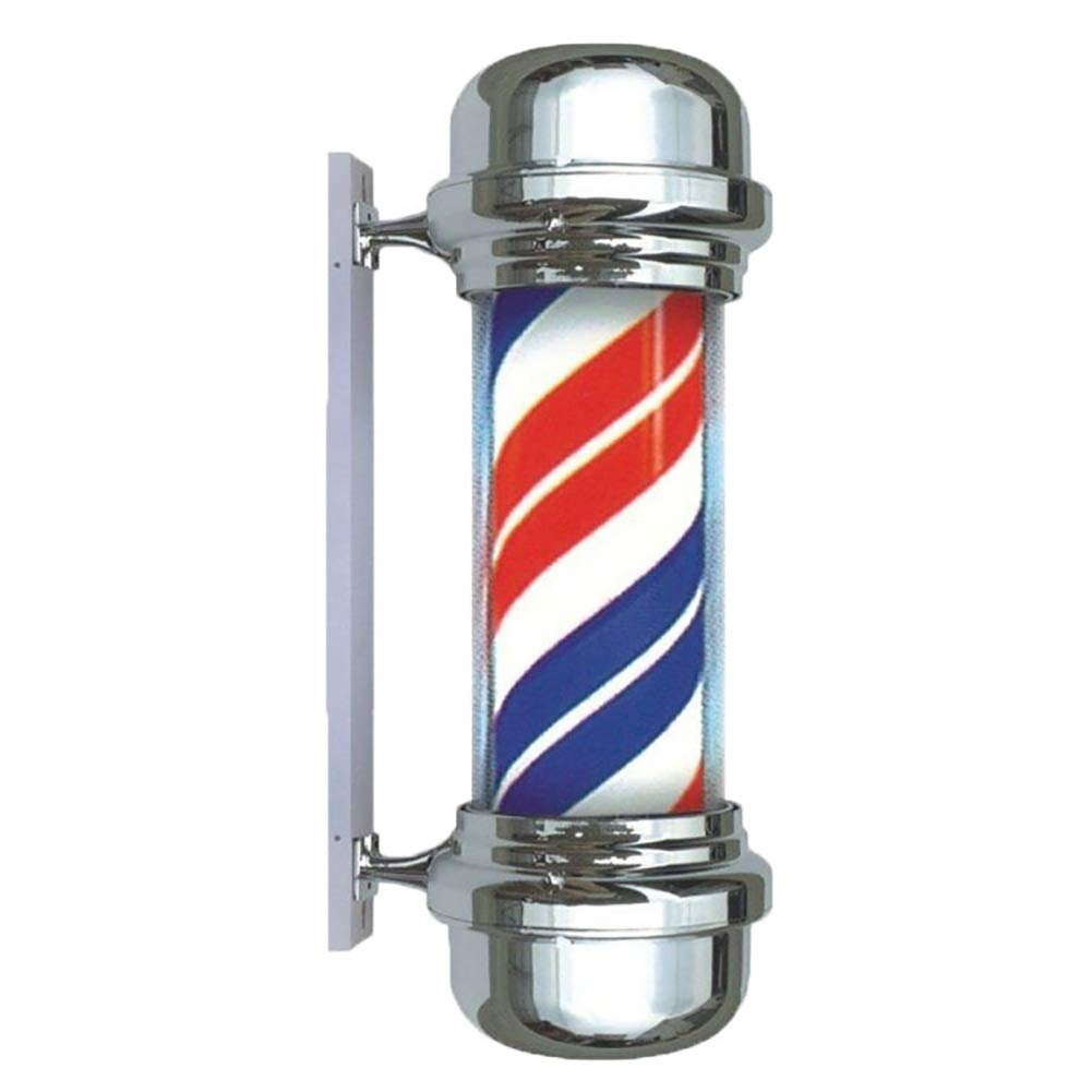 28 LED Flat Top Barber Pole Chrome Plated Caps Rotating Illuminated Red White Blue Stripes Waterproof Salon Sign Wall Mountable Lamp wexe.com