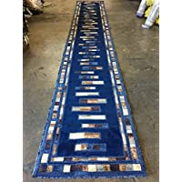 Modern Long Runner Rug Dark Blue Design 504 (31 inch X 15 feet 8 inch)
