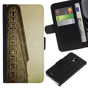 LASTONE PHONE CASE / Lujo Billetera de Cuero Caso del tirón Titular de la tarjeta Flip Carcasa Funda para Samsung Galaxy S4 Mini i9190 MINI VERSION! / Architecture Retro Ligthouse Sea