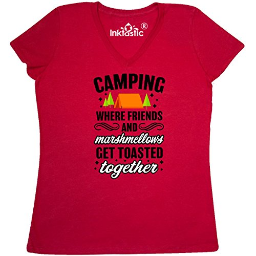 Friend Womens V-neck T-shirt - inktastic Camping Where Friends Women's V-Neck T-Shirt XX-Large True Red 30580