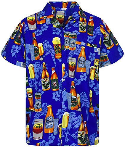(Funky Hawaiian Shirt, Beerbottle, blue, XL)