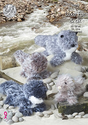 Otter Fur (King Cole Luxe Fur & DK Knitting Pattern Small Medium or Large Otter Toys (9079))