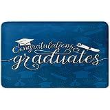 Memory Foam Bath Mat,Graduation Decor,College Celebration Ceremony Certificate Diploma Square Academic CapPlush Wanderlust Bathroom Decor Mat Rug Carpet with Anti-Slip Backing,Blue and White