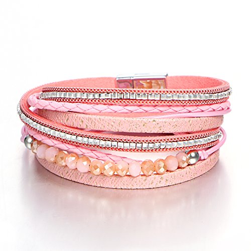 FINETOO Pink Wrap Bead Bracelet Leather Multilayer Braided Rope Boho Rhinestone Crystal Bracelets for Women with Magnetic Clasps