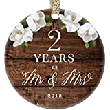 "2018 Christmas Ornament 2nd Second Wedding Anniversary Keepsake Present Two Years Wed Husband Wife Married Couple Country Rustic Ceramic Collectible 3"" Flat Porcelain with Gold Ribbon & Free Gift Box"