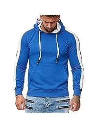 AMOUSTORE Men's Pullover Hoodies Hooded Sweatshirt Patchwork Top Casual Hoody with Kangaroo Pocket