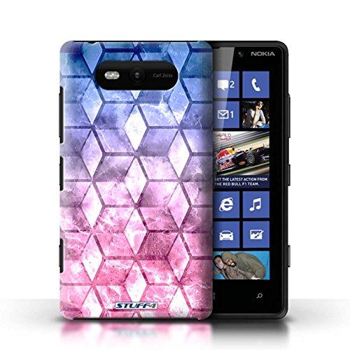Etui / Coque pour Nokia Lumia 820 / Bleu/rose conception / Collection de Cubes colorés