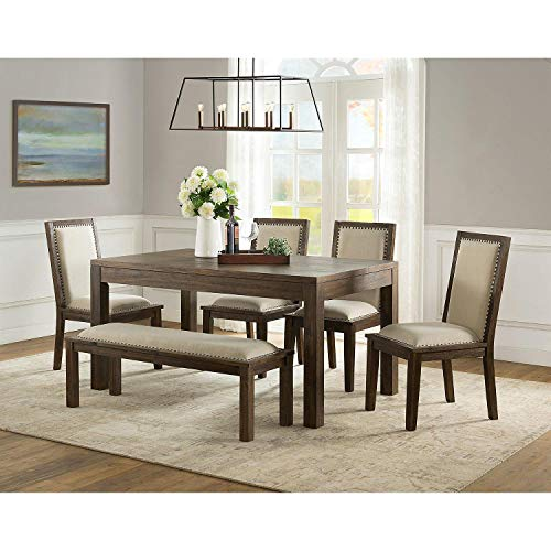 Heyden 6 Piece Dining Set; Durable Solid Wood Legs and Wood-veneered Tabletop with on-Trend Nailhead Trim (Dining Set Hayden)