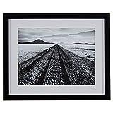 "Black and White Desert Railroad Tracks Photography Print, Black frame, 22"" x 18"""