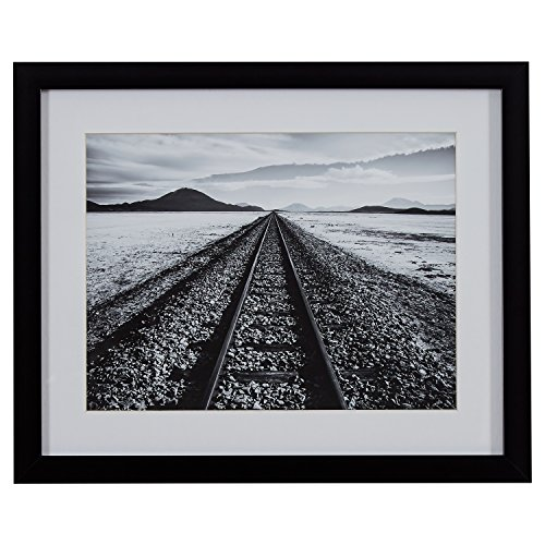 - Black and White Desert Railroad Tracks Photography Wall Art Print, Black frame, 22
