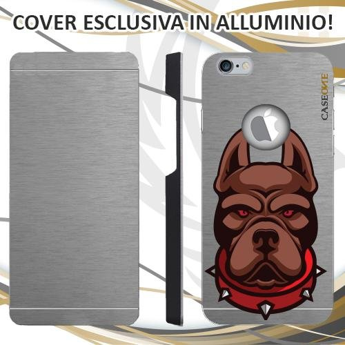 CUSTODIA COVER CASE PITBULL DOG PER IPHONE 6S ALLUMINIO TRASPARENTE