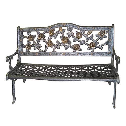 - English Rose Cast Aluminum Bench in Antique Pewter