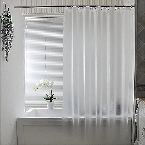 Hampton Inn Bed (Luxiu Home Waterproof Mildew Resistant PEVA Semi-transparent Matte Shower Curtain 118 x 78 inch approx)