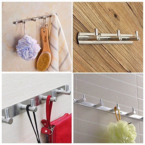 on sale C&C Products 3 Hooks Silver Clothes Hat Towel Robe Rack Stainless Door Holder Wall Hanger