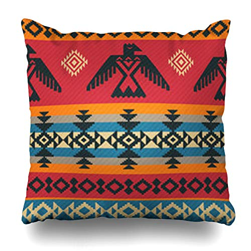 Aika Designs Throw Pillows Covers Pillowcase Eagle Falcon Eagles Ethnic Geometric Tribal Pattern On Native Navajo American Abstract Aztec Totem Home Decor Zippered 18