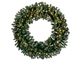 Allstate Pre-Lit Deluxe Windsor Pine Artificial Christmas Wreath with Clear Lights, 48'', Green