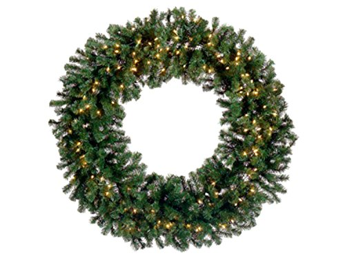 Allstate Pre-Lit Deluxe Windsor Pine Artificial Christmas Wreath with Clear Lights, 48'', Green by Allstate