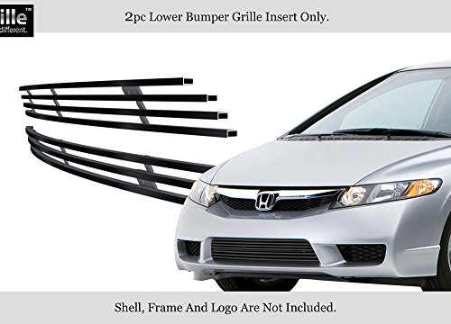 Billet Honda Civic Grilles - APS Compatible with 2009-2011 Honda Civic Sedan Hybrid Black Bumper Stainless Billet Grille H66768J