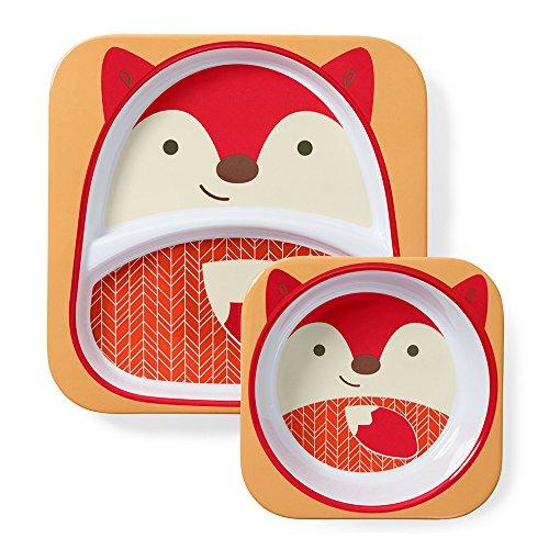 Skip Hop Baby Plate and Bowl Set, Melamine, Fox - Melamine Feeding Set