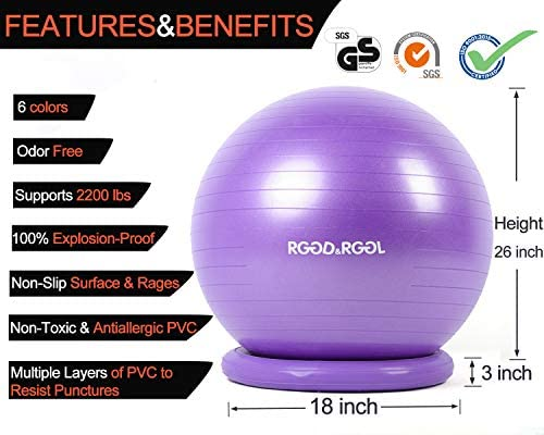 RGGD&RGGL Yoga Ball Chair, Exercise Ball with Leak-Proof Design, Stability Ring&2 Adjustable Resistance Bands for Any Fitness Level, 1.5 Times Thicker Swiss Ball for Home&Gym&Office&Pregnancy (65 cm) 3