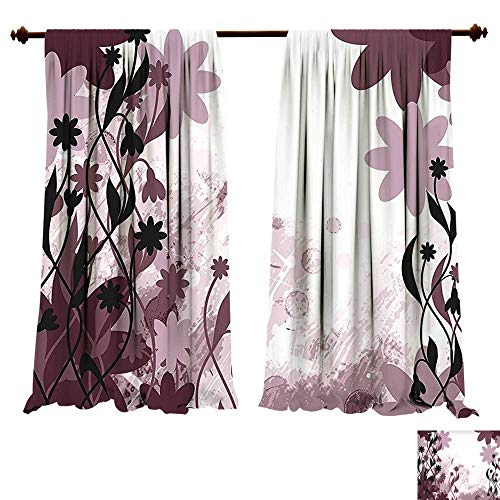 fengruiyanjing-Home Blackout Draperies Floral Daisy Like Garden Flowers Swirls Leaves Background Art Plum Light Pink and Lilac Darkening Blackout Drapes for Bedroom (W107 x L107 -Inch 2 Panels) (Swirl Connector)
