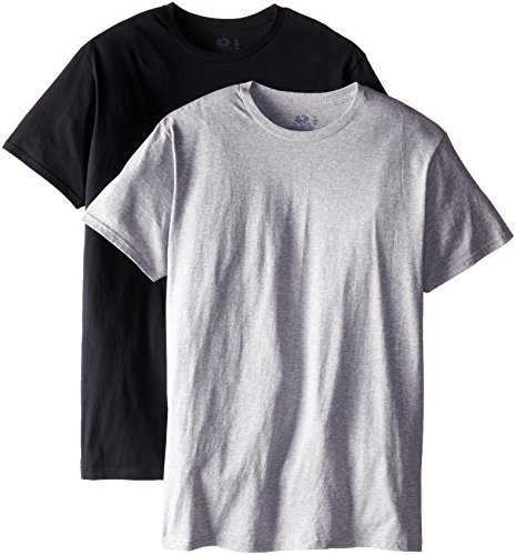 Fruit of the Loom Men's 2-Pack Tall Size Crew T-Shirt, Black/Gray, LT (Fruit Of The Loom Tall Crew)