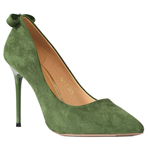 KHSKX-Followed By Bow Tie High Heel Single Shoe Girl Pointed Black High-Heeled Shoes Fine Heel Women Shoes Green Thirty-four 7ha9ua