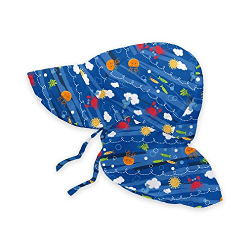 i play. Baby Boys' Flap Sun Protection Hat, Royal Blue Sea Friends, 0-6 Months