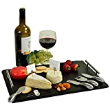 Picnic at Ascot Deluxe Handcrafted Slate Cheese Board/Charcuterie Platter with Stainless Steel Tools, Cheese Markers and Soapstone Chalk - A Great Holiday Gift for all Gourmets