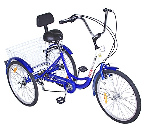 24' Shimano 6-Speed 3-Wheel Adult Tricycle with Rear Basket