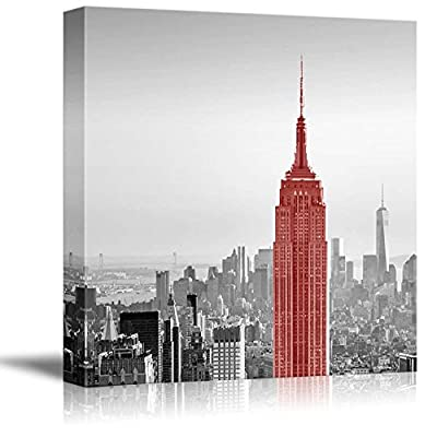 Made With Love, Amazing Technique, Black and White Photograph of New York with a Pop of Red on The Empire State Building