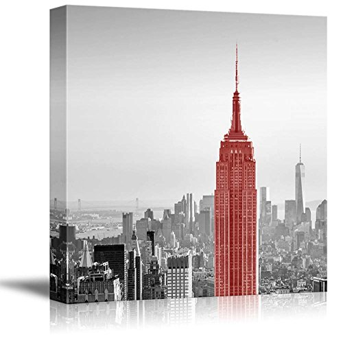 wall26 Black and White Photograph of New York with a Pop of Red on The Empire State Building - Canvas Art Home Decor - 12x12 inches