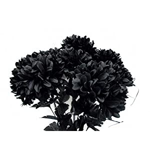 "Chrysanthemum Mum Ball Bush 10 Artificial Silk Flowers 19"" Bouquet 2302 Black 29"