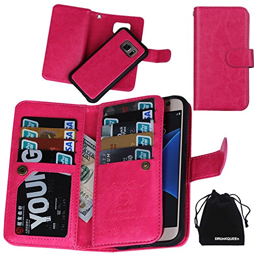 DRUnKQUEEn S7 Case, Premium Leather Credit Card Holder Feature Wallet Type Flip Folio Case - Detachable Magnetic Back Cover with Lanyard Wrist Hand Strap for G930 Samsung Galaxy S7 - Rose