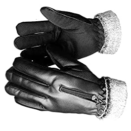 Alexvyan 1 Pair Winter Special Fur Inside Warm Gloves for Riding, Cycling, Bike, Motorcycle for Women and Men (Black…