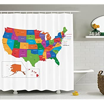 Beau Wanderlust Shower Curtain By Ambesonne, Colorful USA Map With States And  Capital Cities Washington Florida