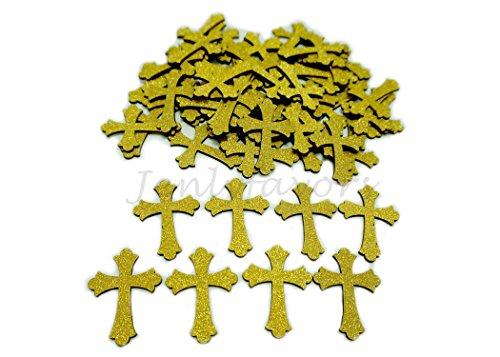 Golden Glitter Wood Cross (100 Pieces) (Gold Cross Centerpiece)