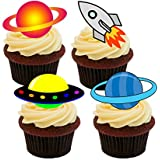 Outer Space - Spacecraft and Planets Edible Cupcake Toppers - Stand-up Wafer Cake Decorations by Made4You