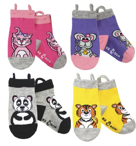Ez Sox Kids Animal Socks (Kitty-Mouse-Panda-Tiger)