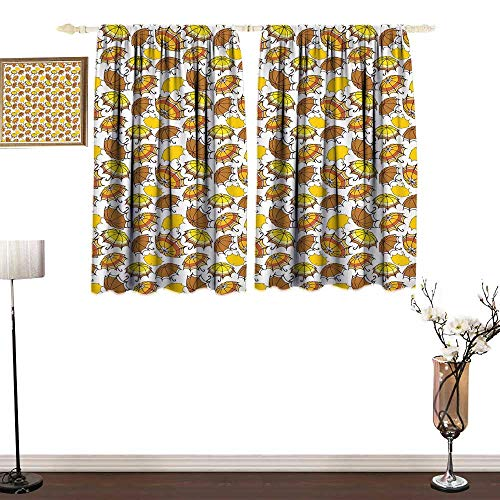 Simple Curtain Umbrella Striped Parasols with Bent Crook Handles in Earth Tones Cartoon Style Printing Insulation W55 xL45