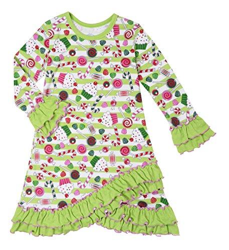 Sara's Prints Girls Sweet Treats Long Sleeve Ruffled Nightgown, Kids Size 8