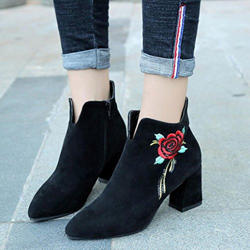 Heel Leather Womens Casual Shoes Boots Calf Embroidered High Mid MML Black Loafer q46np