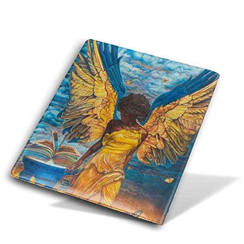 ZzFurel African Woman Gold Wings Angel Book Cover Protector Fits Most Hardcover Textbooks Up to 9 X - Angels Leather Cover Checkbook