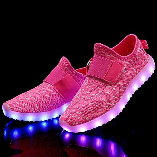 EQUICK Kinder LED Leuchten Schuhe Breathable stricken Kinder Casual Laufschuhe (kleines Kind / großes Kind) Dk.pink